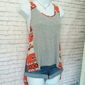 HONEY PUNCH high/low aztec print tank top